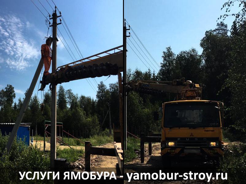 Установка столбов в деревне Нурма