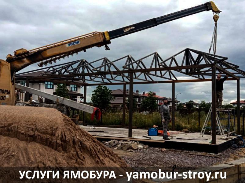 Крановые работы ямобуром в Павловске